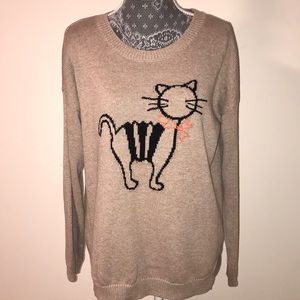 Maison Jules cat sweater size L RUNS BIG